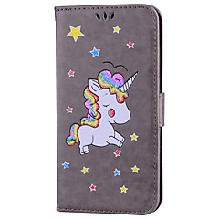 cheap iPhone Cases-Case For Apple iPhone 7 Plus iPhone 7 Card Holder with Stand Flip Pattern Full Body Cases Unicorn Glitter Shine Hard PU Leather for