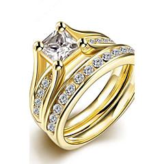 preiswerte Ringe-Damen Kubikzirkonia Ring - Edelstahl, vergoldet Modisch 6 / 7 / 8 / 9 Gold Für Party Geburtstag Geschenk