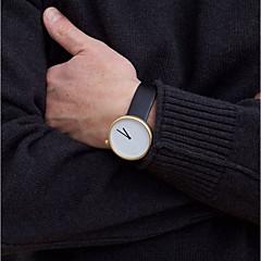 preiswerte Tolle Angebote auf Uhren-Herrn Sportuhr Militäruhr Armbanduhr Quartz Kreativ Armbanduhren für den Alltag Cool Leder Band Analog Charme Freizeit Modisch Schwarz / Braun - Goldenschwarz Gold / Weiß Weiß / Silber