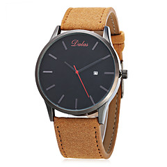 Men's Fashion Watch Chinese Quartz Calendar / date / day Large Dial Leather Band Vintage Casual Minimalist Black Brown