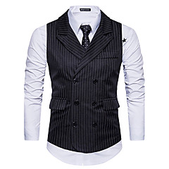 cheap Men's Blazers & Suits-Men's Daily / Going out Fall / Winter Regular Vest, Striped Black & White Fantastic Beasts Shirt Collar Sleeveless Polyester White / Black / Dark Gray L / XL / XXL / Slim