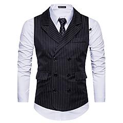 hesapli Erkek Blazerları ve Takım Elbiseleri-Erkek Günlük / Dışarı Çıkma Sonbahar / Kış Normal Vesta, Çizgili Siyah ve Beyaz Fantastik Canavarlar Gömlek Yaka Kolsuz Polyester Beyaz / Siyah / Koyu Gri L / XL / XXL / İnce