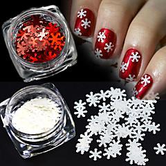 2colors / set 1g / pullo joulu valkoinen&punainen nail art loistava 3d lumihiutale paljetteja DIY manikyyri koristelu
