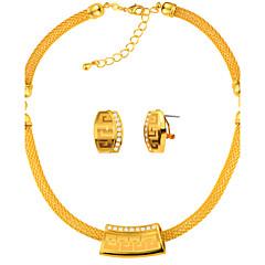 Жен. Серьги-гвоздики Ожерелья с подвесками Цепочка Кристалл Имитация Алмазный Мода Массивные украшения Золотистый Круглый Геометрической