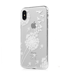 Недорогие Кейсы для iPhone X-Кейс для Назначение Apple iPhone X iPhone X iPhone 8 iPhone 8 Plus Ультратонкий Прозрачный С узором Кейс на заднюю панель одуванчик Мягкий