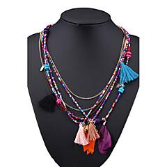 preiswerte Halsketten-Damen Anhängerketten / Ketten - Feder Retro, Böhmische, Modisch Regenbogen, Hellblau, Leicht Grün Modische Halsketten Für Geschenk, Ausgehen