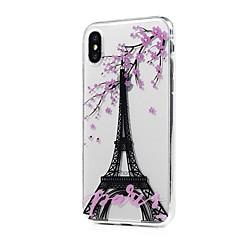 Назначение iPhone X iPhone 8 iPhone 8 Plus Чехлы панели Ультратонкий Прозрачный С узором Задняя крышка Кейс для Эйфелева башня дерево