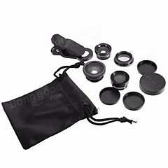 5-In-1 Set Fish Eye Wide Angle Marco Telephoto Lens CPL Lens For iPhone 7 6/6S Plus  black