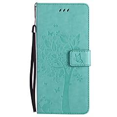 Недорогие Чехлы и кейсы для Galaxy Note 3-Кейс для Назначение SSamsung Galaxy Note 8 Note 5 Бумажник для карт Кошелек со стендом Флип С узором Чехол Кот дерево Твердый Кожа PU для
