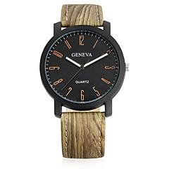 preiswerte Damenuhren-Herrn Damen Quartz Armbanduhr Chinesisch Armbanduhren für den Alltag Leder Band Retro Freizeit Modisch Cool Schwarz Khaki