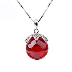 preiswerte Halsketten-Damen Synthetischer Rubin Anhängerketten / Ketten - Sterling Silber, Strass Erdbeere Modisch, Elegant Silber Modische Halsketten Schmuck Für Party, Ausgehen