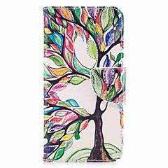 Недорогие Чехлы и кейсы для LG-Кейс для Назначение V30 Q6 Бумажник для карт Кошелек со стендом Флип Магнитный С узором Чехол дерево Твердый Кожа PU для LG V30 LG Q6