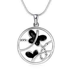 Жен. Ожерелья с подвесками Ожерелья-цепочки Круглый В форме банта Медь Серебрянное покрытие Сердце Мода Бижутерия Назначение Для вечеринок