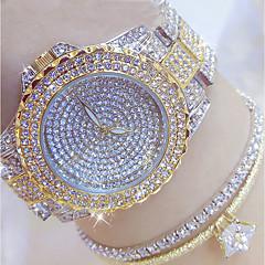 preiswerte Tolle Angebote auf Uhren-Damen Modeuhr Einzigartige kreative Uhr Pavé-Uhr Japanisch Quartz 30 m Armbanduhren für den Alltag Edelstahl Band Analog Charme Silber / Gold - Gold Silber Gold / Silber