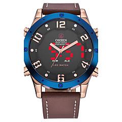 OHSEN Hombre Reloj de Moda Reloj de Pulsera Reloj Casual Japonés Cuarzo LCD Piel Banda Cool Casual De Lujo Marrón