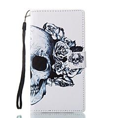 Недорогие Чехлы и кейсы для Sony-Кейс для Назначение Sony Бумажник для карт Кошелек со стендом Флип Магнитный С узором Чехол Черепа Твердый Кожа PU для Sony Xperia L1 Sony