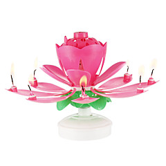 boldog születésnapi gyertya elektromos vezetett torta zenei lótuszvirág művészet forgó fények lámpa party decoration