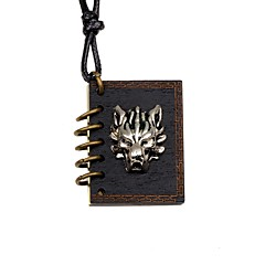 preiswerte Halsketten-Herrn / Damen Anhängerketten - Medaillon, Wolf Retro Schwarz Modische Halsketten Für Party, Geschenk