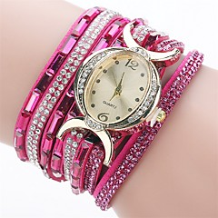 お買い得  大特価腕時計-女性用 ブレスレットウォッチ ダミー ダイアモンド 腕時計 クォーツ 模造ダイヤモンド PU バンド ハンズ チャーム カジュアル ファッション ブラック / ブルー / レッド - ブルー ピンク ライトブルー