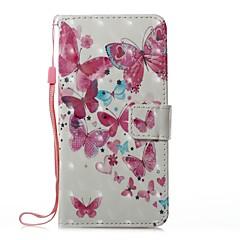Недорогие Чехлы и кейсы для Huawei серии Y-Кейс для Назначение Huawei Бумажник для карт Кошелек со стендом Флип Магнитный С узором Чехол Бабочка Твердый Кожа PU для P10 Lite P8