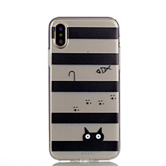 Custodia Per Apple iPhone X iPhone 8 iPhone 8 Plus Transparente Fantasia/disegno Custodia posteriore Con onde Gatto Morbido TPU per