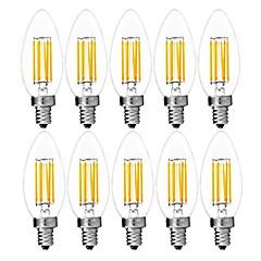 お買い得  LED 電球-10個 6W 560lm E14 フィラメントタイプLED電球 C35 6 LEDビーズ COB 装飾用 温白色 / クールホワイト 220-240V