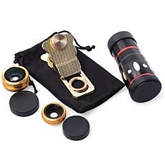 10x multi-fonctionnelle 4 en 1 caméra externe macro grand angle fisheye téléobjectif pour téléphone mobile (or)