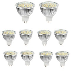 10st 6w mr16 led spotlight 48 * 2835smd 550lm varm / cool vit aluminium spotlampa ac / dc12v
