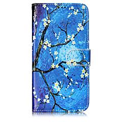 Недорогие Чехлы и кейсы для Motorola-Кейс для Назначение Motorola Бумажник для карт Кошелек со стендом Флип С узором Чехол Цветы дерево Твердый Кожа PU для Мото G5 Plus Moto
