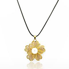 Mujer Collares con colgantes Collares Declaración Perla artificial Forma Redonda Forma de Flor Perla Chapado en Oro Joyería de Lujo Floral
