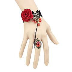 tanie -Biżuteria Gothic Lolita Pierscionek Retro Damskie Red Lolita akcesoria Koronkowe Bransoletka Pierścień Włóknina Kamienie sztuczne Stop