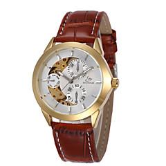 お買い得  メンズ腕時計-男性用 機械式時計 自動巻き ブラック / レッド / ブラウン 30 m 耐水 透かし加工 ハンズ ゴールド / ホワイト ブラック / シルバー ホワイト / シルバー