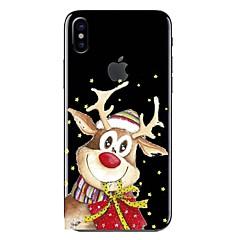 Недорогие Кейсы для iPhone 7 Plus-Кейс для Назначение iPhone X iPhone 8 Прозрачный С узором Задняя крышка Мультипликация Рождество Мягкий TPU для iPhone X iPhone 8 Pluss