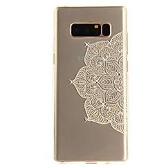 Недорогие Чехлы и кейсы для Galaxy Note 5-Кейс для Назначение Note 8 Стразы Ультратонкий Прозрачный С узором Задняя крышка Кружева Печать Мягкий TPU для Note 8 Note 5 Edge Note 5