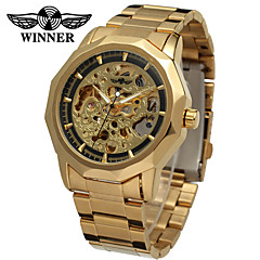 cheap -WINNER Men's Mechanical Watch Wrist watch Dress Watch Automatic self-winding Hollow Engraving Stainless Steel Band Vintage Casual Silver