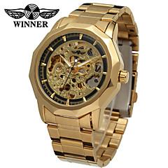 お買い得  大特価腕時計-WINNER 男性用 リストウォッチ / 機械式時計 透かし加工 ステンレス バンド ヴィンテージ / カジュアル シルバー / ゴールド / 自動巻き