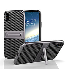 Недорогие Кейсы для iPhone 6-Кейс для Назначение Apple iPhone X / iPhone 8 со стендом Кейс на заднюю панель Однотонный Твердый Углеродное волокно для iPhone X / iPhone 8 Pluss / iPhone 8