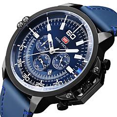 preiswerte Herrenuhren-MINI FOCUS Herrn Armbanduhren für den Alltag / Armbanduhr Japanisch Kalender / Stopuhr / Cool Echtes Leder Band Luxus Schwarz / Blau