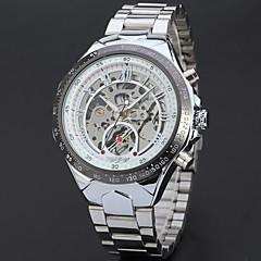お買い得  メンズ腕時計-WINNER 男性用 ドレスウォッチ リストウォッチ 機械式時計 自動巻き 透かし加工 クール ステンレス バンド ハンズ ぜいたく ヴィンテージ カジュアル シルバー - ホワイト ブラック