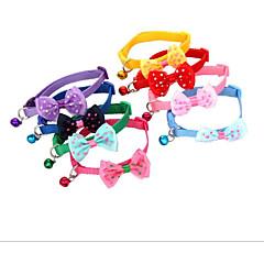 お買い得  犬用首輪/リード/ハーネス-ネコ 犬 カラー 携帯用 高通気性 折り畳み式 蝶結び ファブリック パープル レッド ブルー ピンク
