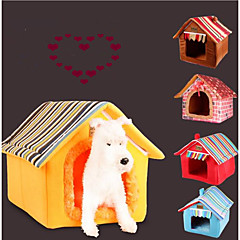 Cat Dog Bed Pet Mats & Pads Solid Stripe Warm Portable Foldable Soft Coffee Yellow