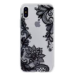 Недорогие Кейсы для iPhone 6 Plus-Кейс для Назначение Apple iPhone X iPhone 8 Прозрачный С узором Рельефный Кейс на заднюю панель Кружева Печать Мягкий ТПУ для iPhone X