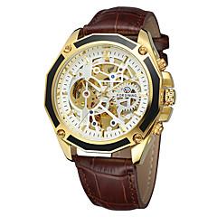 お買い得  メンズ腕時計-FORSINING 男性用 カジュアルウォッチ / ファッションウォッチ / リストウォッチ カジュアルウォッチ / クール 本革 バンド カジュアル ブラック / ブラウン / 自動巻き