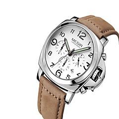 preiswerte Tolle Angebote auf Uhren-MEGIR Herrn Armbanduhr Quartz Kalender leuchtend Cool Leder Band Analog Freizeit Modisch Schwarz / Braun - Weiß Schwarz Kaffee