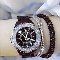 お買い得  大特価腕時計-女性用 レディース リストウォッチ 日本産 クォーツ 30 m カジュアルウォッチ セラミック バンド ハンズ チャーム ブラック / 白 - ホワイト ブラック / ステンレス