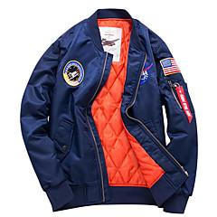 저렴한 남자 겉옷-남성용 일상 / 데이트 가을 / 겨울 보통 자켓, 국기 스탠드 긴 소매 폴리에스테르 프린트 블랙 / 네이비 블루 / 아미 그린 4XL / XXXXXL / XXXXXXL