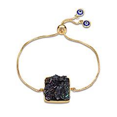 Dames Armbanden met ketting en sluiting Obsidiaan Klassiek Informeel Europees Modieus Oversized Edelsteen Verguld Medaillon Geometrische
