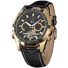お買い得  メンズ腕時計-FORSINING 男性用 リストウォッチ カレンダー / クール レザー バンド カジュアル / ファッション ブラック / ステンレス / 自動巻き