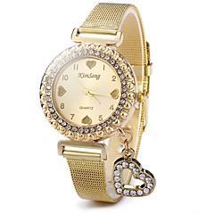preiswerte Tolle Angebote auf Uhren-Damen Pavé-Uhr Quartz Armbanduhren für den Alltag Edelstahl Band Analog Glanz Heart Shape Freizeit Gold - Gold