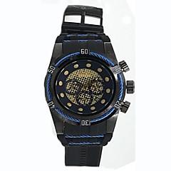 お買い得  メンズ腕時計-男性用 腕時計用ギフトボックス カジュアルウォッチ スポーツウォッチ クォーツ 耐水 カレンダー クロノグラフ付き シリコーン ラバー バンド ハンズ カジュアル ブラック - シルバー /  ブラック ブラック / ブルー シルバー / ブルー 2年 電池寿命 / ステンレス